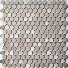 TST Stainless Steel Tiles Brush Penny Round Dots Chess Mosaic Tile Home Wall Remodeling