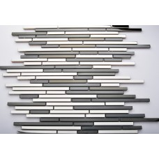TST Stainless Steel Tiles Black & Sliver Strips Stainless Steel Special Mosaic Wall Decor Art