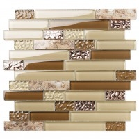 TST Interlace Glass Tile Rose Gold Beige Tan Brown Inner Conch Inlay Beach Style Art Mosaic TSTNB15