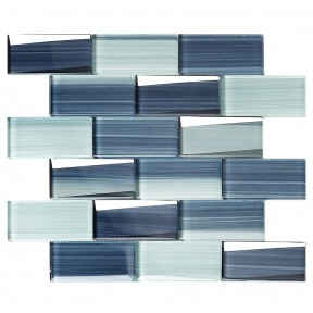 TST Hand Painted Blue Strips Glass Tile Subway Brick Accent Wall Backsplash Art Mosaic Tiles TSTNB20