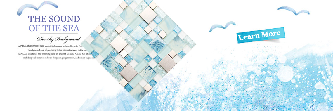 Glass sea blue mosaic tile