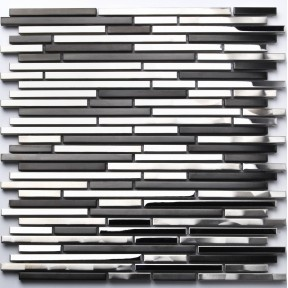 Stainless Steel Tile Interlocking Strip Black Silver CD Marks Kitchen Backsplash Decor