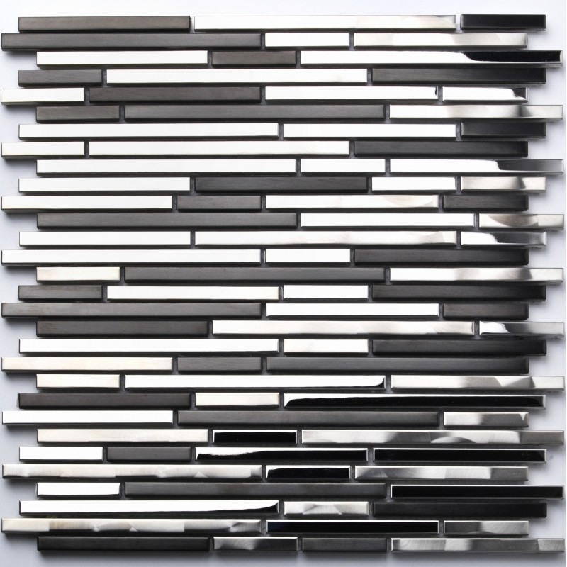 Sample Metal Stainless Steel Linear Glass Mosaic Tile: Stainless Steel Tile Interlocking Strip Black Silver CD