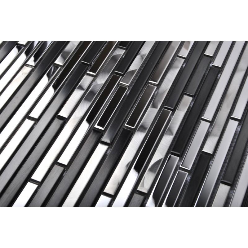 Stainless Steel Tile Interlocking Strip Black Silver Cd Marks Kitchen Backsplash Decor