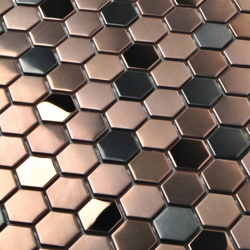 Stainless Steel Brushed Mosaic Tile Rose Gold Black Bathroom ...