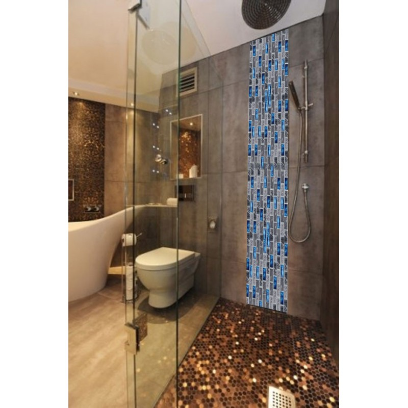 Stainless Steel Brushed Mosaic Tile Rose Gold Black Bathroom ...