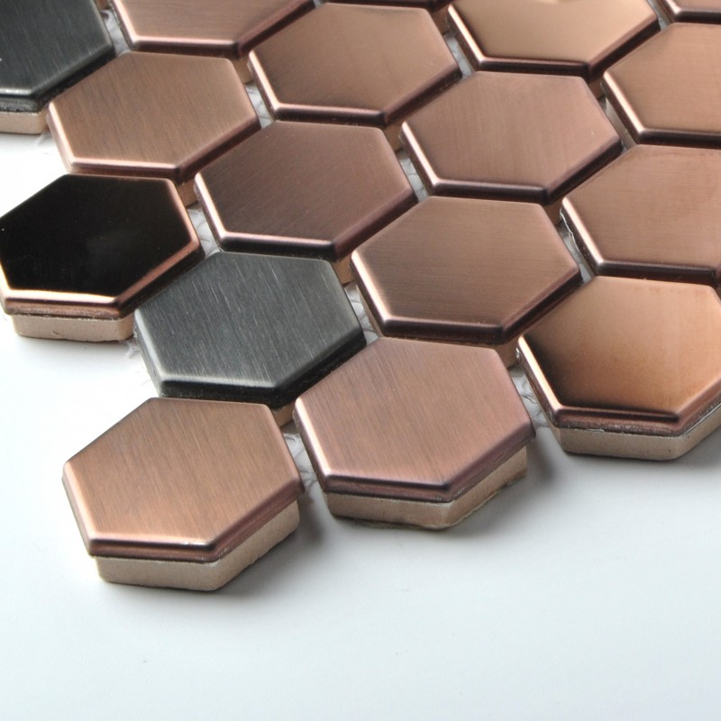 stainless steel bathroom tiles hexagon stainless steel brushed mosaic tile gold 20647
