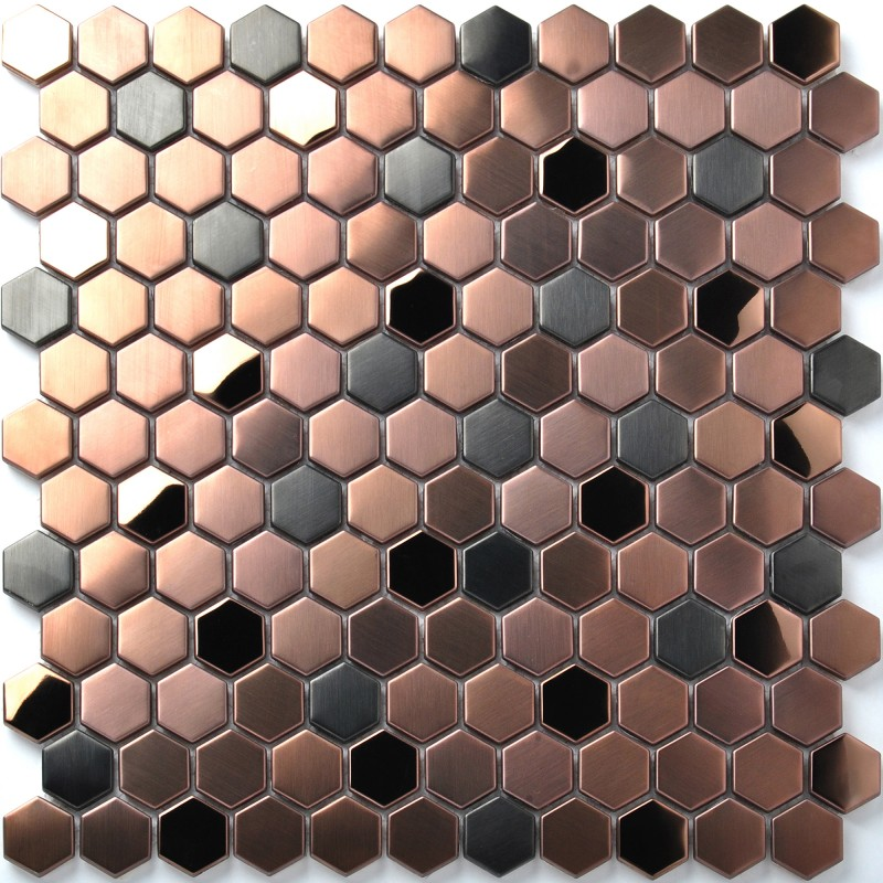 Hexagon Stainless Steel Brushed Mosaic Tile Rose Gold Black Bathroom Shower Floor Tiles Tstmbt021
