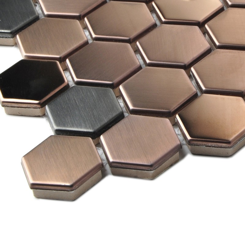 Hexagon Stainless Steel Brushed Mosaic