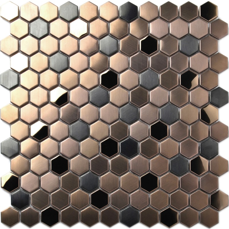 Hexagon Stainless Steel Brushed Mosaic Tile Bronze Copper Color Black Bathroom Shower Floor Tiles Tstmbt021
