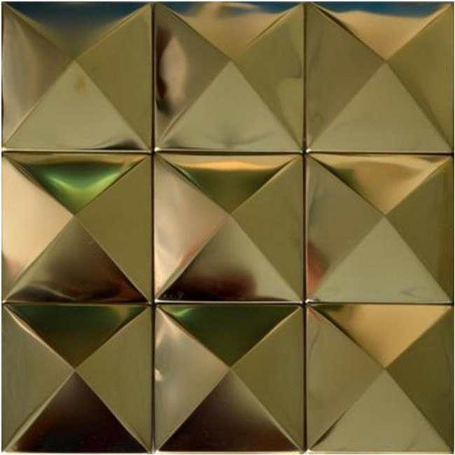 TST Pyramid Metal Tiles Golden Glossy Mosaic Home Hotel Decor Art