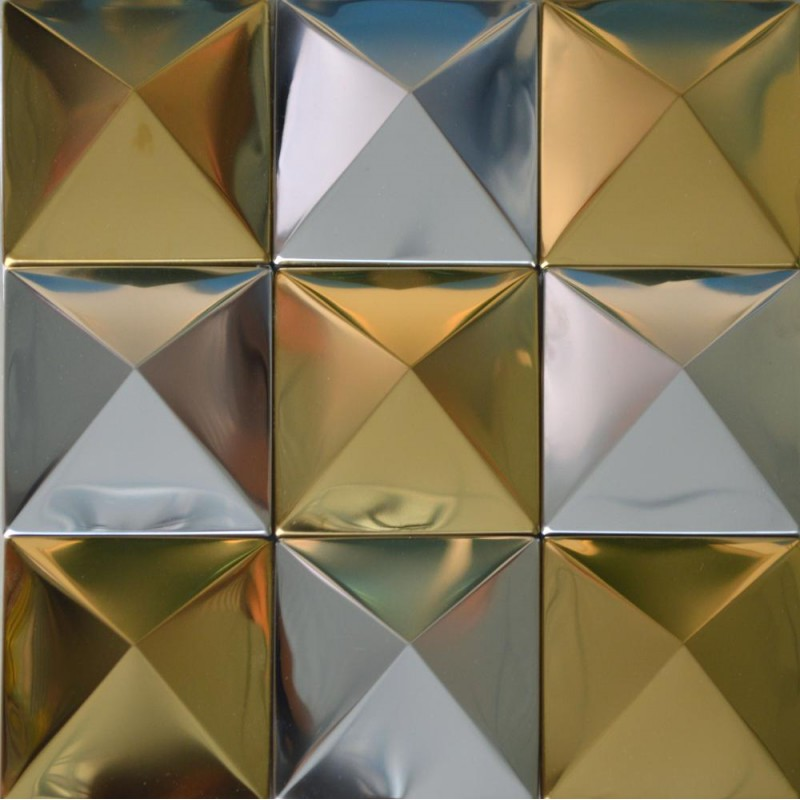tst pyramid metal tiles golden and silver glossy mosaic tiles decorative wall tiles design - Decorative Wall Tiles