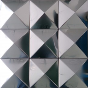 TST Pyramid Metal Tiles Silver Glossy Mosaic Tiles AwesomeDecorative Wall Tiles Design