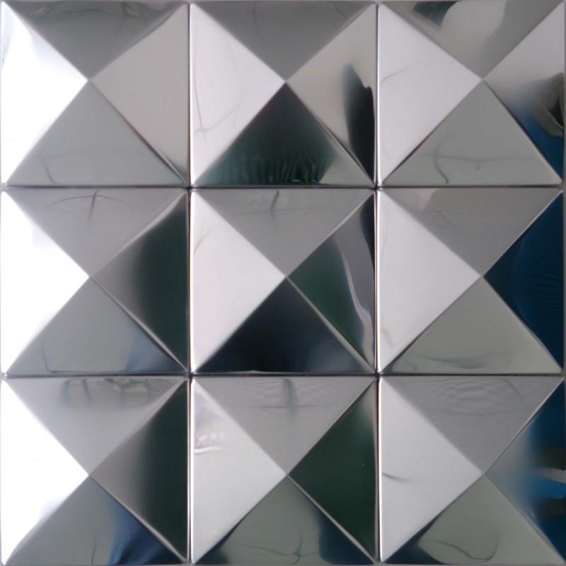 Tst Pyramid Metal Tiles Silver Glossy Mosaic Tiles