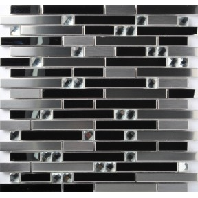 TST Stainless Steel Mosaic Tile Silver Mirrored Tiles Porcelain Base Kitchen Backsplash Wall Art