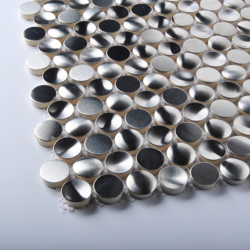 Tst Stainless Steel Mosaic Tile Silver Round Chips