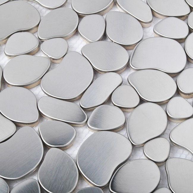 TST Stainless Steel Metal Pebbles Mosaic Tile Silver Irregular Chips Industrial Style Wall Decor TSTSM11