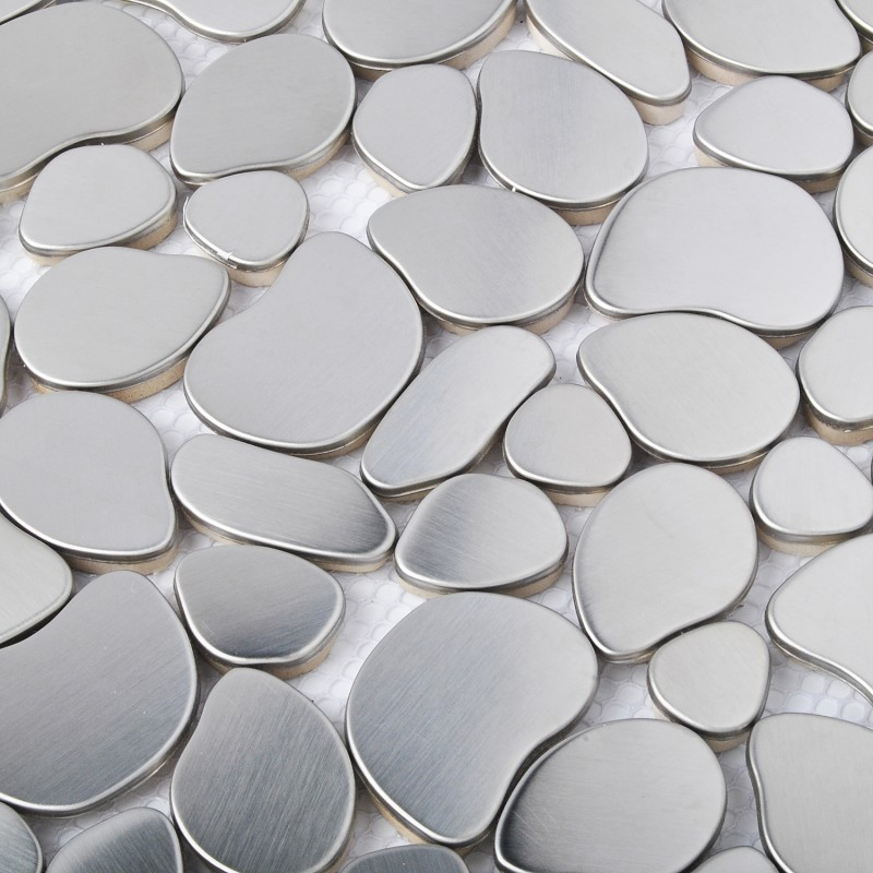 Tst Stainless Steel Metal Pebbles Mosaic Tile Silver Irregular Chips Style Wall Decor Tstsm11