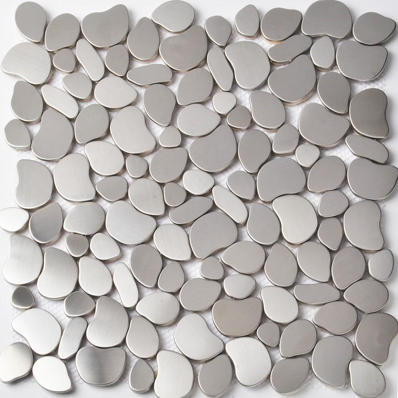 Stainless Steel Metal Pebbles Mosaic Tile Silver Irregular Chips ...
