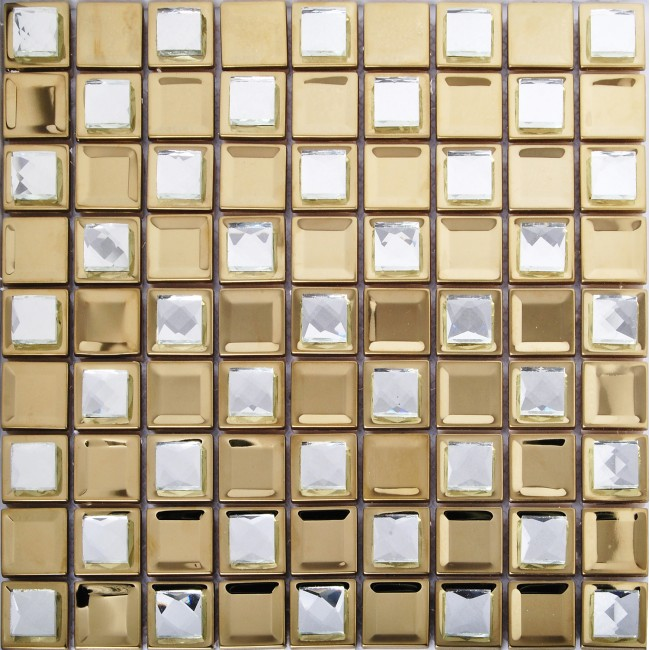 Tst stainless steel mosaic tile yellow metal tiles with for Yellow mosaic bathroom tiles