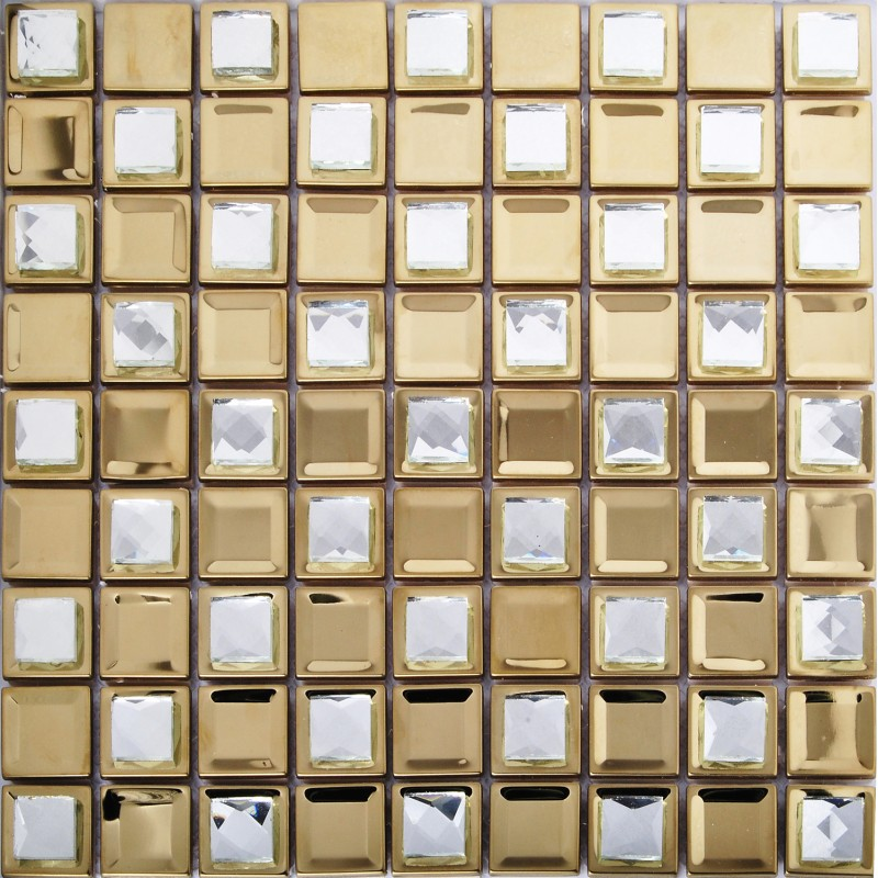 TST Stainless Steel Mosaic Tile Yellow Metal Tiles With Porcelain ...