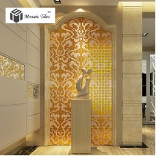 TST Mosaic Collages Golden Flower Pattern Vines Wall Deco Art Mosaics