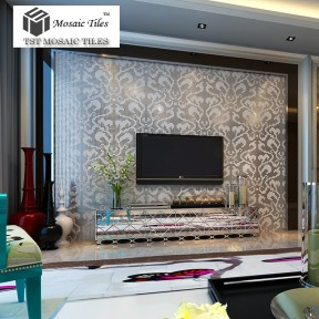 TST Mosaic Collages Silver Vines Flower Pattern Home Hotel Deco Art Mosaics