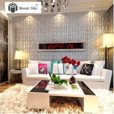 TST Mosaic Collages Art Wall Deco Backsplash Silver Rectangular Patterns Tiles