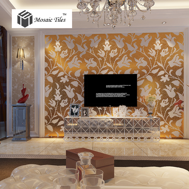 TST Mosaic Collages Golden White Flowers Tulip Pattern Picture Art Wall  Tiles