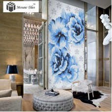 TST Mosaic Collages Big Blue Flowers Puzzle Patterns Customized Floral Crystal Glass Tiles