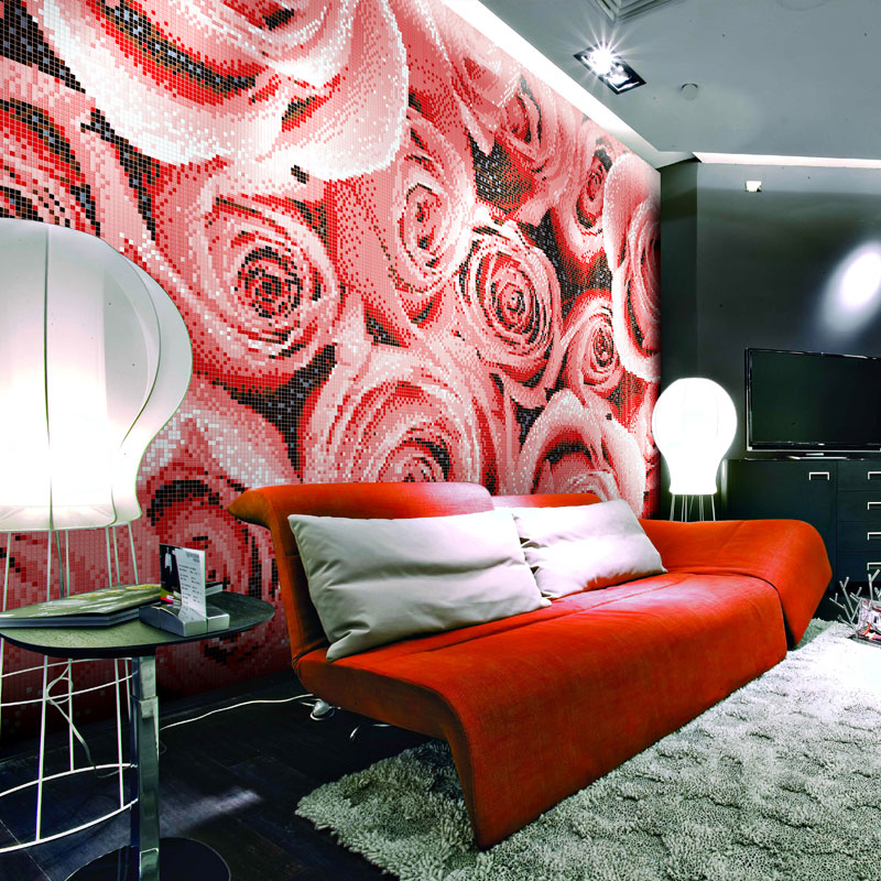 TST Mosaic Collages Romantic Red Rose Background Art Wall Deco ...