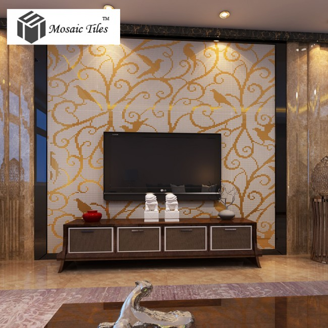 TST Mosaic Collages Golden Magpie Pattern Customized Hotel Home Remolding Shower Wall Tiles