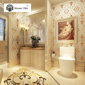 TST Mosaic Collages Classic European Style Diamond Flower Patterns Bathroom Wallpaper Tiles