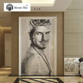 TST Mosaic Collages Black & White Crystal Glass Customize Portrait Photo Idol Star David Beckham