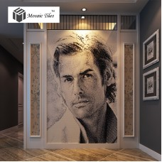 TST Mosaic Collages Movie Star Brad Pitt Black & White Photo Portrait Customize Art Mosaic Tiles