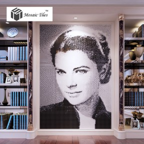TST Mosaic Collages Black & White Crystal Glass Portrait Photo Customize Art Mosaic Star Grace Kelly