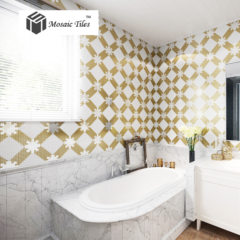 TST Mosaic Collages Goleden Silver Diamond Crystal Glass Parquet - Art deco mosaic tile patterns