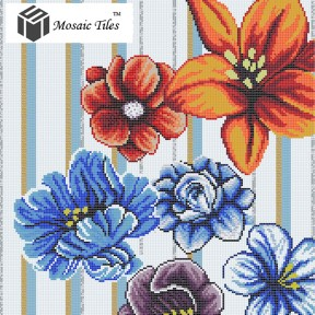 TST Mosaic Collages Big Colorful Flowers Puzzle Patterns Wall Deco Art Mosaic Tiles