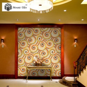 TST Mosaic Collages Golden Auspicious Clouds Parquet Crystal Glass Wall Backsplash