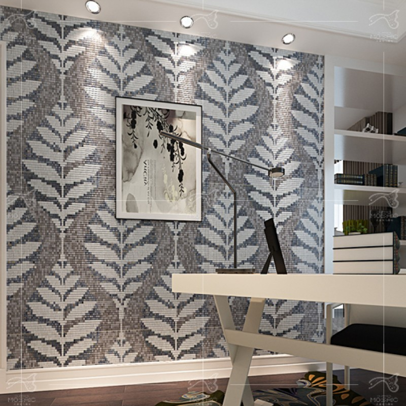 TST Mosaic Collages Leaf Pattern Crystal Glass Wall Deco Backsplash ...