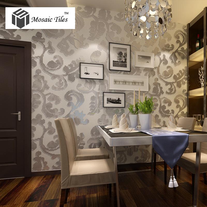 Tst Mosaic Collages Silver Leaf Vines Pattern Backsplash Wall Deco