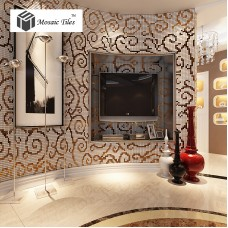 TST Mosaic Collages Golden Auspicious Clouds Curve Wall Backsplash Crystal Glass Mirror Tiles