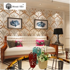 TST Mosaic Collages Goleden Silver Sprout Pattern Mirror Unique Hand Craft Wall Deco Tiles