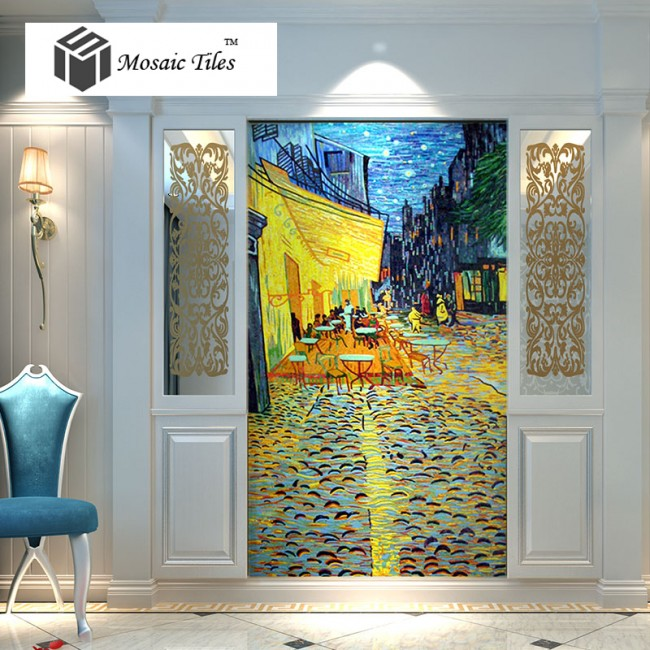 TST Mosaic Murals Deco Wall Customized Art Mosaic Van Gogh Oil Painting The Night Cafe
