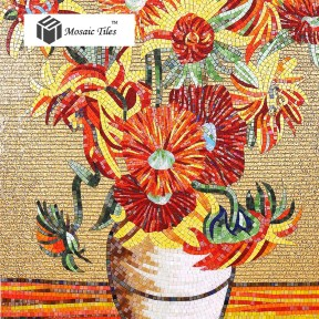 TST Mosaic Murals Sunflower Van Gogh Oil Painting Customized Mosaic Art TSTBSM002