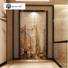 TST Mosaic Murals Yellow Painting Tower Old Town Hand Made Customized Wall Deco
