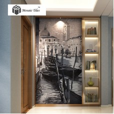 TST Mosaic Murals Parquet Famous Painting Venice Beautiful City Water Boat Black & White