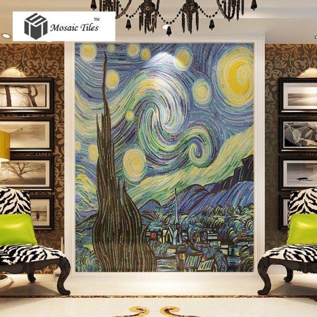 TST Mosaic Murals Van Gogh Oil Painting The Starry Night Blue Parquet Famous Picture