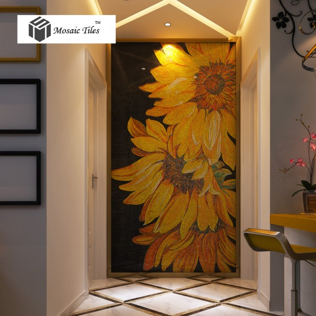 TST Mosaic Mural Sunflowers Parquet Unique Art Background Wall Decor