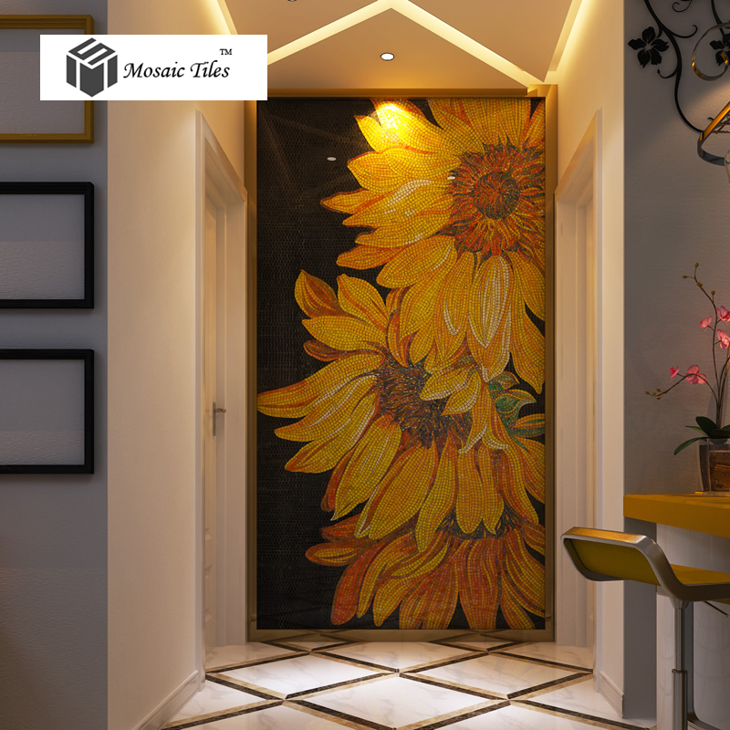 Tst Mosaic Mural Sunflowers Parquet Unique Art Background